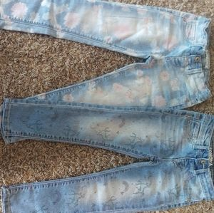 Girls size 4 printed jeans
